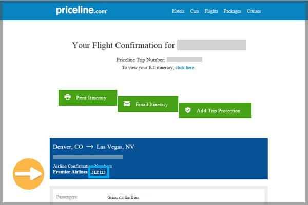 Priceline confirmation email example