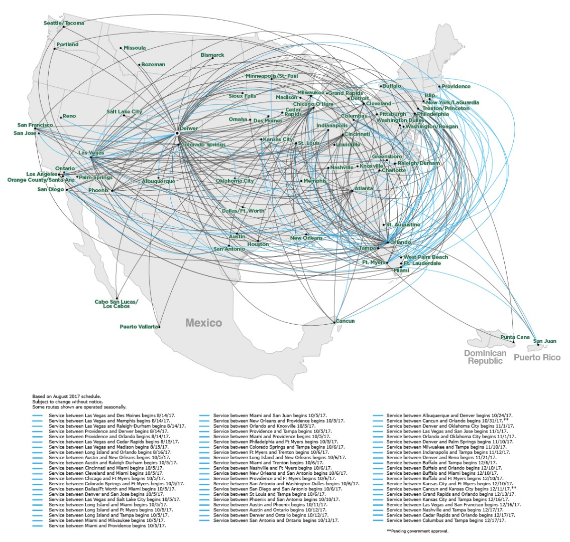route map frontier airlines frontier route map